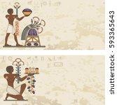 ancient egypt banner.egyptian... | Shutterstock .eps vector #593365643