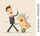 happy businessman carries boxes ... | Shutterstock .eps vector #593366180