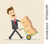 businessman carries boxes on... | Shutterstock .eps vector #593366189