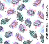 hand drawn feathers seamless... | Shutterstock . vector #593368643