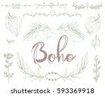 boho ethnic rustic style  frame ... | Shutterstock .eps vector #593369918