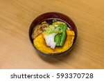japanese vegetable soup with... | Shutterstock . vector #593370728