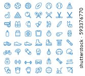 set of sport and fitness icons. ... | Shutterstock .eps vector #593376770