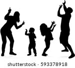 vector silhouette of family. | Shutterstock .eps vector #593378918
