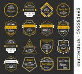 set of vintage car symbols and ... | Shutterstock . vector #593381663