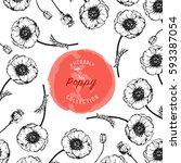poppy vector design background... | Shutterstock .eps vector #593387054