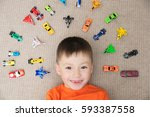 happy boy playing with car... | Shutterstock . vector #593387558