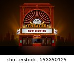 theater cinema building vector... | Shutterstock .eps vector #593390129