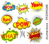 vector comic speach bubble with ... | Shutterstock .eps vector #593390288