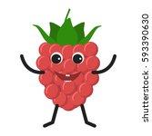 raspberry character. funny... | Shutterstock .eps vector #593390630