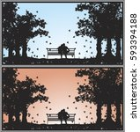 Silhouette Of A Couple Sitting...