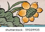 Lotus painting in traditional Thai style  - stock photo