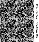 seamless black vector lace... | Shutterstock .eps vector #593401403