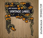 vector vintage items  label art ... | Shutterstock .eps vector #593401739