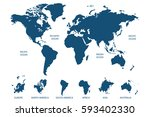 blue world map vector on white... | Shutterstock .eps vector #593402330