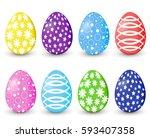 set of easter eggs | Shutterstock .eps vector #593407358
