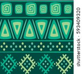 green ethnic mexican tribal... | Shutterstock .eps vector #593409320