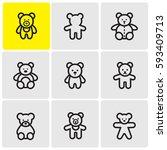 teddy bears line icons | Shutterstock .eps vector #593409713