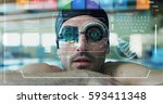 professional swimmer leaning at ... | Shutterstock . vector #593411348