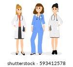 group of women doctors | Shutterstock . vector #593412578
