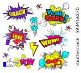 comic bubbles set. expressions... | Shutterstock .eps vector #593416370