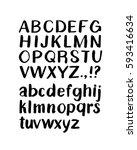 handwritten uppercase and... | Shutterstock .eps vector #593416634