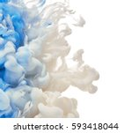 ink in water isolated on white... | Shutterstock . vector #593418044
