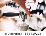 making coffee in the coffee... | Shutterstock . vector #593419226