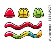 jelly candies and gummy worms... | Shutterstock .eps vector #593419274