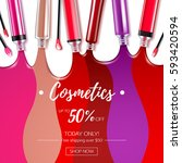 spilled colorful lip gloss with ... | Shutterstock .eps vector #593420594