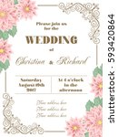 wedding invitation with flowers ... | Shutterstock .eps vector #593420864