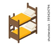bunk bed with stairs wooden...   Shutterstock .eps vector #593424794