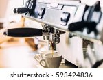 making coffee in the coffee... | Shutterstock . vector #593424836