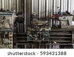 old lathe machine equipment | Shutterstock . vector #593431388