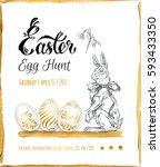 poster   easter egg hunt  ... | Shutterstock .eps vector #593433350