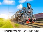 retro old steam locomotive... | Shutterstock . vector #593434730