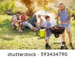 generation family cooking on... | Shutterstock . vector #593434790