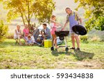 grandfather and granddaughter... | Shutterstock . vector #593434838
