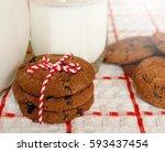 milk and cookies. | Shutterstock . vector #593437454