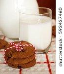 milk and cookies. | Shutterstock . vector #593437460