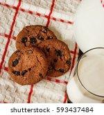 milk and cookies. | Shutterstock . vector #593437484