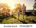 family weekend with barbecue in ... | Shutterstock . vector #593438870