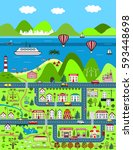 detailed cartoon map with city  ... | Shutterstock .eps vector #593448698