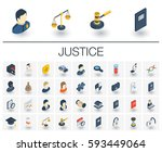 isometric flat icon set. 3d... | Shutterstock .eps vector #593449064