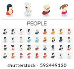 isometric flat icon set. 3d... | Shutterstock .eps vector #593449130