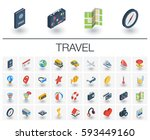 isometric flat icon set. 3d... | Shutterstock .eps vector #593449160