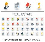 isometric flat icon set. 3d... | Shutterstock .eps vector #593449718
