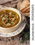 mushroom soup in ceramic  bowl   Shutterstock . vector #593450693