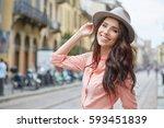 close up fashion woman portrait ... | Shutterstock . vector #593451839