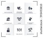 employee benefits icon set | Shutterstock .eps vector #593453810